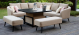 Outdoor fabric Ambition Square Corner dining set with Rising Table - Taupe
