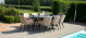 Outdoor fabric Zest 8 seat oval dining set - Taupe