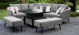 Outdoor fabric Ambition Square Corner dining set with Rising table - Flanelle