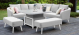 Outdoor fabric Ambition Square Corner dining set with Rising Table - Lead Chine