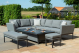 Outdoor fabric Pulse Rectangular Corner Dining Set with Rising Table - Flanelle