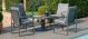 Amalfi 4 Seat Square Dining Set with Rising Table - Grey