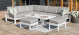 Amalfi Large Corner Dining with Square Rising Table and Footstools - White