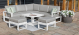 Amalfi Small Corner Dining with Square Rising Table and Footstools - White