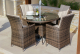 LA 4 Seat Round Dining Set with Ice Bucket - Brown