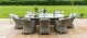 Oxford 8 Seat Oval Table with Ice bucket and Heritage Chairs