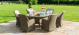 Winchester 6 Seat Oval Ice Bucket Dining Set with Venice Chairs and Lazy Susan