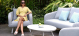 Outdoor fabric Ambition 2 Seat Sofa Set - Lead Chine