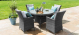 LA 4 Seat Round Dining Set with Ice Bucket - Grey