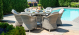 Oxford 6 Seat Round Fire Pit Dining Set with Heritage Chairs