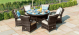 Texas 6 Seat Round Dining Set with Ice Bucket &Lazy Susan - Brown