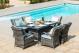 Texas 6 Seat Rectangular Dining Set with Ice Bucket & Lazy Susan - Grey