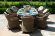 Winchester 8 Seat Oval Fire Pit Dining Set with Heritage Chairs
