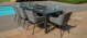 Outdoor fabric Zest 8 seat Rectangular dining set with Fire Pit - Flanelle