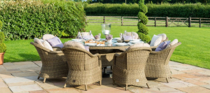Winchester 8 seat Round Ice Bucket Dining Set with Heritage Chairs