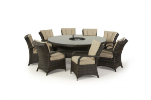 Texas 8 Seat Round Dining Set with Ice bucket & lazy Susan - Brown